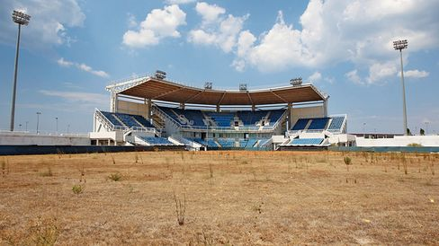 The abandoned Olympic softball venue within the Hellinikon complex