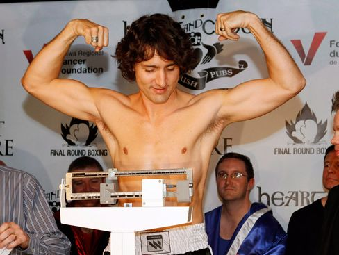 Trudeauweighs in for a boxing match against Conservative Senator Patrick Brazeau on March 28, 2012, in Ottawa.