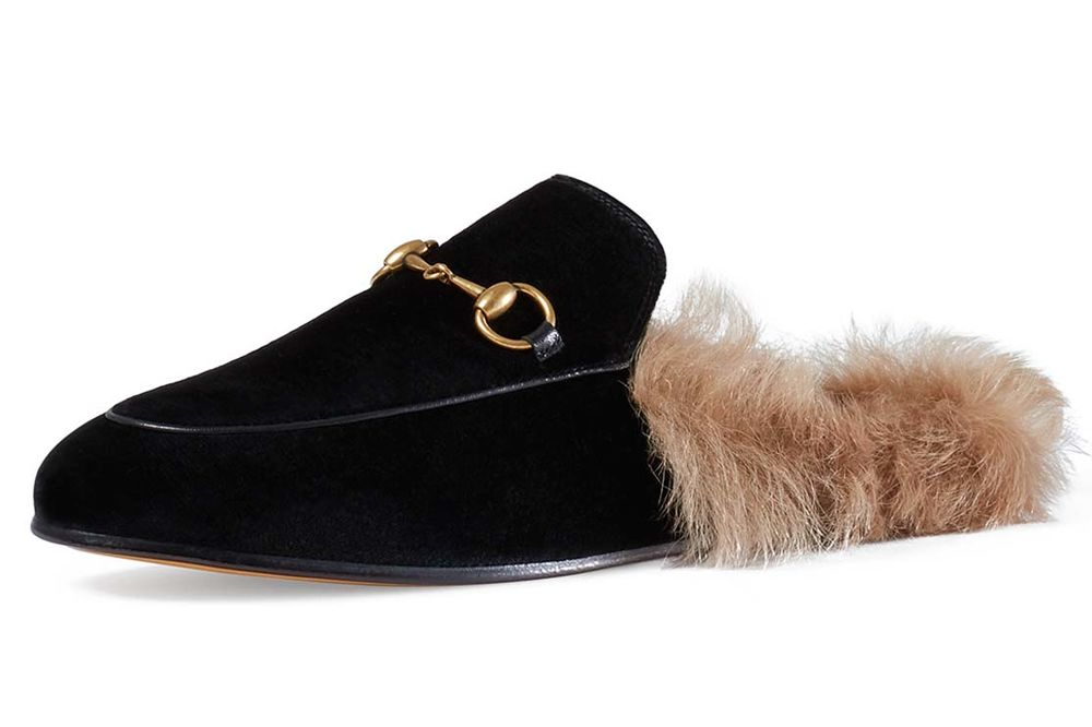 8db42e440 Gucci s Fur-Lined Cotton Velvet Princetown Mules Are the Anti-Uggs ...