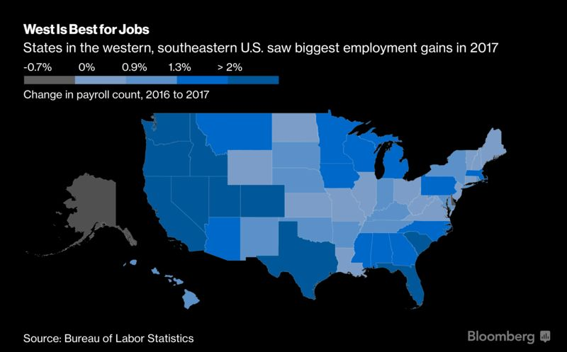 Fastest Gains Were In The West For US Job Growth In 2017 Map - Us Map By Job Avalability