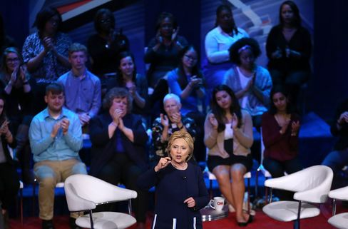 Democratic presidential candidate Hillary Clinton speaks during a CNN town hall on March 13, 2016, in Columbus, Ohio.