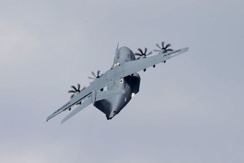 An Airbus A400M performs during a flying display.