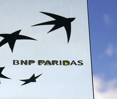 The BNP Paribas logo in Paris