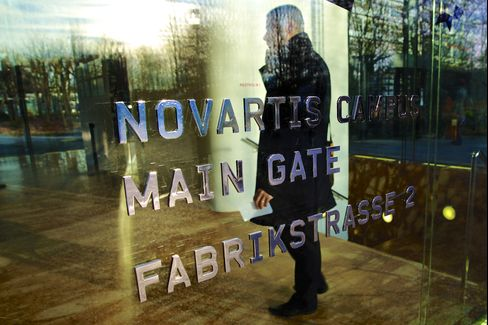 A Logo sits on a Glass Door Outside Novartis AG's Headquarters