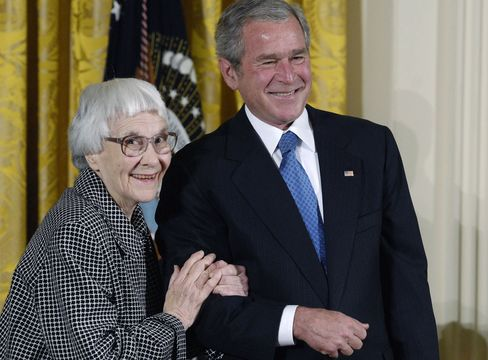 Harper Lee, left, the author of