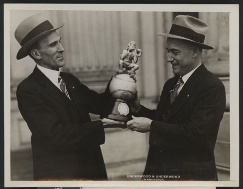 On the Capitol steps, Representative Clyde Kelly presented Thomas McMillan with the trophy for the 69th Congress Congressional Baseball championship. McMillan was captain of the Democratic team, which defeated the Republicans 12-9.