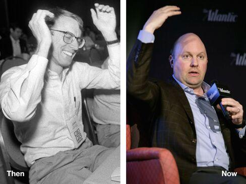 L-R: John Doerr, 1992; Marc Andreessen, 2014