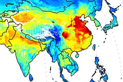 Global satellite-derived map of PM2.5 averaged over 2001-2006. Map Courtesy Aaron van Donkelaar and Randall Martin at Dalhousie University, Halifax, Nova Scotia, Canada