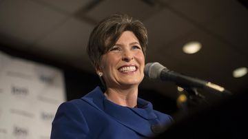 Joni Ernst appears at an election night rally in West Des Moines, Iowa, on Nov. 4, 2014.