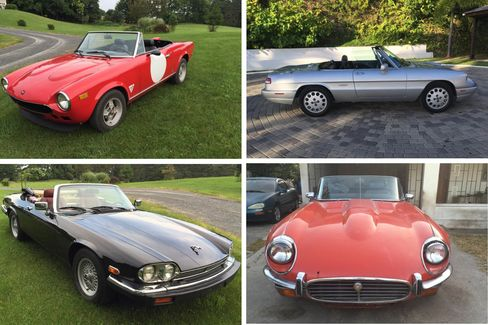 Clockwise from top left: 1978 Fiat 124, 1991 Alfa Romeo Spider, 1972 E Type Jaguar V12 Roadster, 1991 Jaguar XJ.