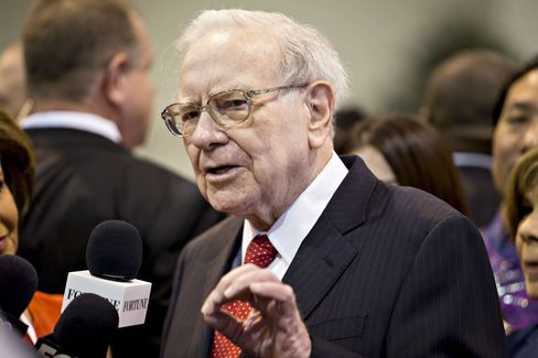 Warren Buffett during the Berkshire Hathaway AGM on April 30.