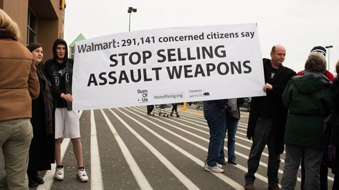 Gun Control Advocates Protest Outside Of Wal-Mart