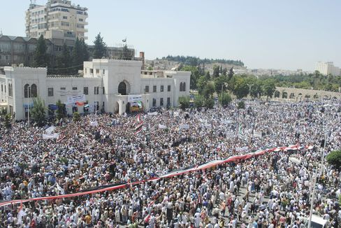 Syrians Demonstrate in Hama on Friday