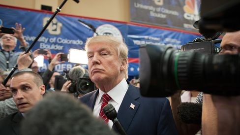 Donald Trump speaks with the media after the Republican presidential debate in Boulder, Colorado, on Oct. 28, 2015.