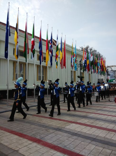 Flag raising ceremony at the start of the Asian-African Conference in Bandung, Indonesia