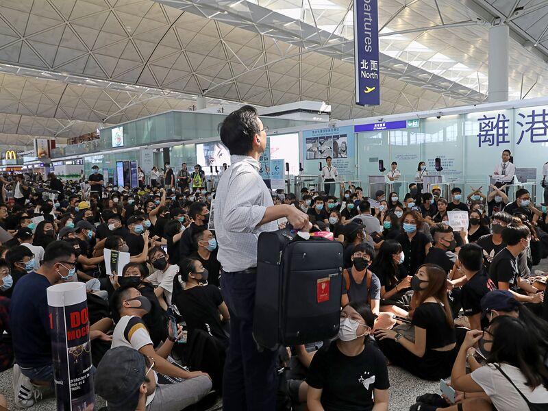 Hong Kong International Airport As Demonstrators Seek Fifth Day of Sit-ins