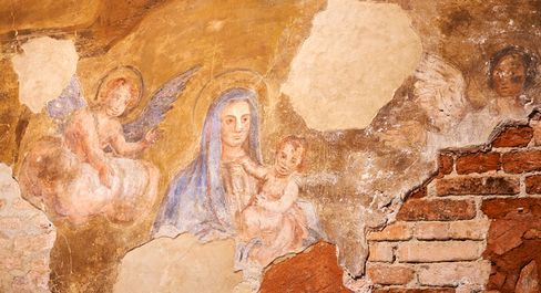 Frescos in the Church of San Clemente, attached to the new St. Regis Palace on San Clemente island.