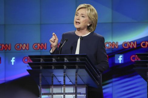 Hillary Clinton speaks in the first Democratic presidential debate on Oct. 13. The former U.S. secretary of state, has shifted her position on TPP and last week announced that she doesn't support it. Photographer: Josh Haner/Pool via Bloomberg