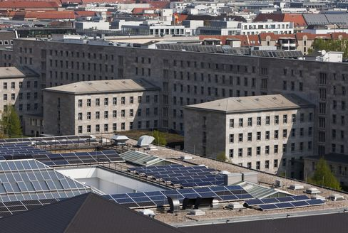 Solar panels as sit atop Martin-Gropius-Bau exhibition hall in Berlin, Germany