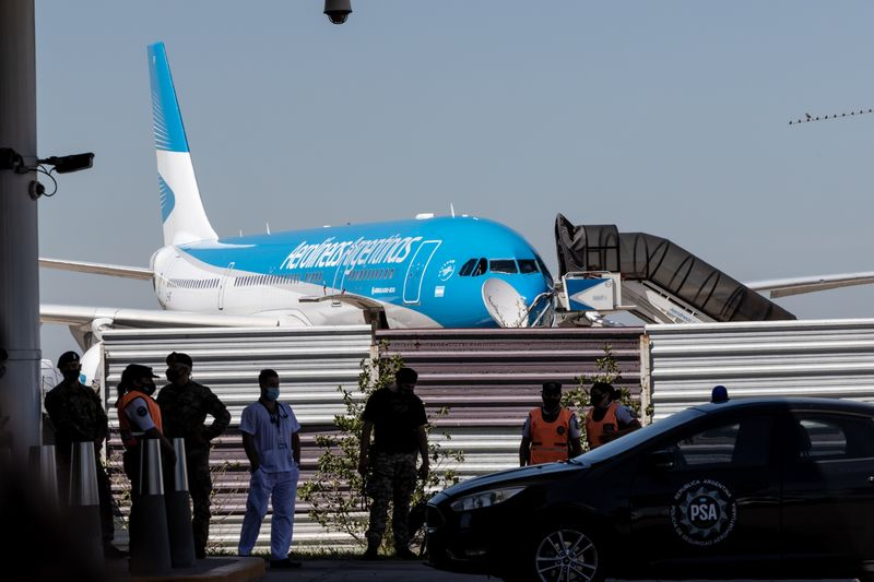 An Aerolineas Argentinas aircraft carrying Sputnik V vaccines arrives in Buenos Aires, Argentina, on Dec. 24, 2020.