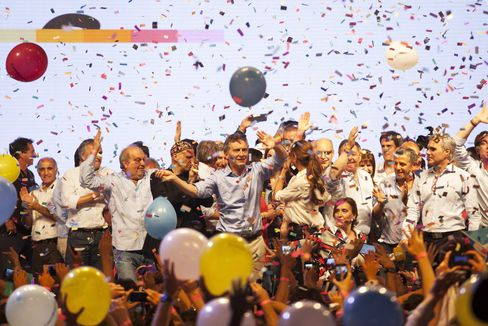 Mauricio Macri with supporters on election night
