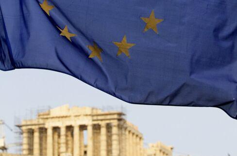 An EU flag Flies At The Foot Of The Acropolis Hill