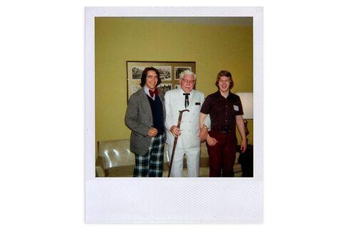 Drew Nieporent (left) and his college friend meet Colonel Sanders in the 1970s.