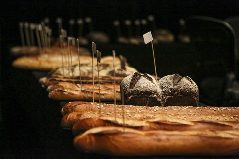 Breads await their fate during the Best Baguette in NYC competition Jan. 21 at the Sofitel New York.