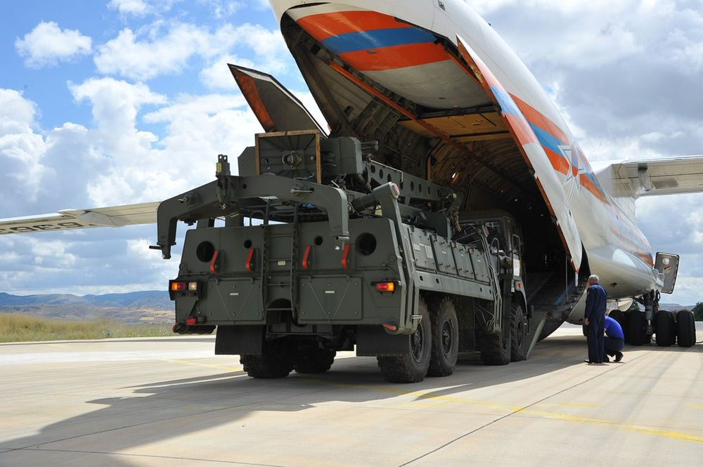Russian Ilyushin Il-76, carrying the first batch of equipment of S-400 missile defense system, arrives at Murted Air Base in Ankara, Turkey on July 12, 2019.