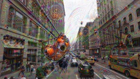 A cityscape explodes with life after a trip through DeepDream.