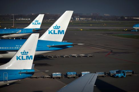 Air France-KLM Group  Airplanes at Schiphol Airport in Amsterdam