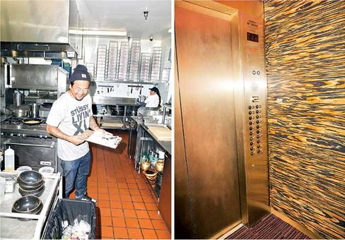 Choi in the kitchen at Pot restaurant; the elevator's dizzying interior