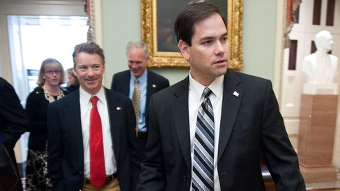 Sen.-elect Rand Paul, R-Ky., and Sen.-elect Marco Rubio, R-Fla., leave the Mansfield Room during a break in freshman orientation on Wednesday, Nov. 17, 2010.