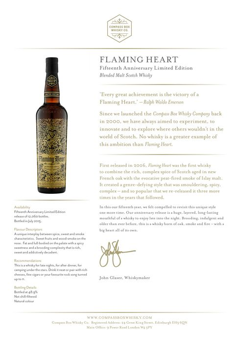 Information distributed with Flaming Heart whisky.