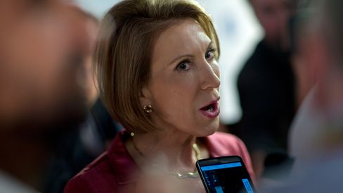 Carly Fiorina speaks to the media after a televised forum in Cleveland, Ohio, on Aug. 6, 2015.