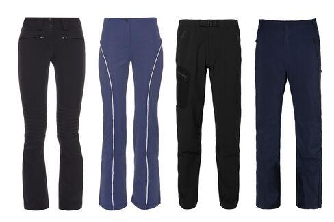 (From left) WOMEN: Aurora technical ski trousers, Perfect Moment, $331, matchesfashion.com; Technical ski trousers, Fendi, $926, matchesfashion.com. MEN: Gamma slim-fit softshell trousers, Arc'teryx, $200, mrporter.com; Slim cut shell snowboard trousers, KJUS, $650, mrporter.com.
