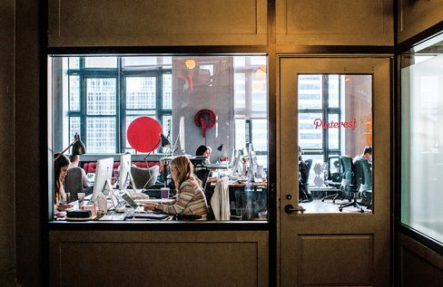 Pinterest, based in California, rents WeWork space in New York.