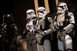 Actors dressed as Stormtroopers, character from the 'Star Wars' film franchise, stand on stage during the Electron.