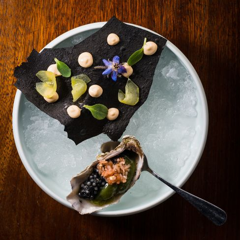 Starters include vegetal oyster andcaviar, a playful dish.