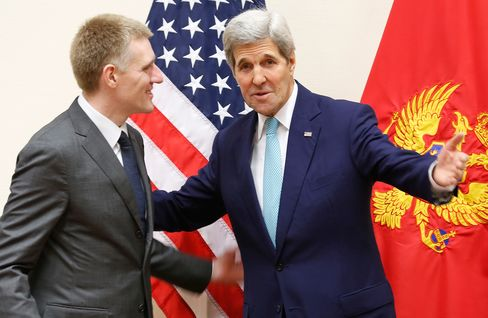 John Kerry meets with Montenegro's Foreign Minister Igor Luksic