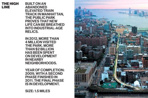 DS+R reimagined the High Line, an elevated train track, as a public park.