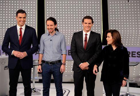 Pedro Sanchez, Pablo Iglesias, Albert Rivera and Soraya Saenz de Santamaria