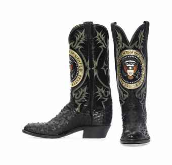 Ronald Reagan's ostrich, cowhide, frog skin cowboy boots