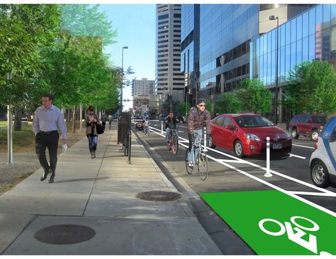 An artist's rendering of the new crowdfunded bike lane expected to open in Denver this year.