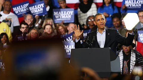 President Barack Obama speaks in support of Connecticut Governor Dan Malloy on Nov. 2, 2014, in Bridgeport, Conn.