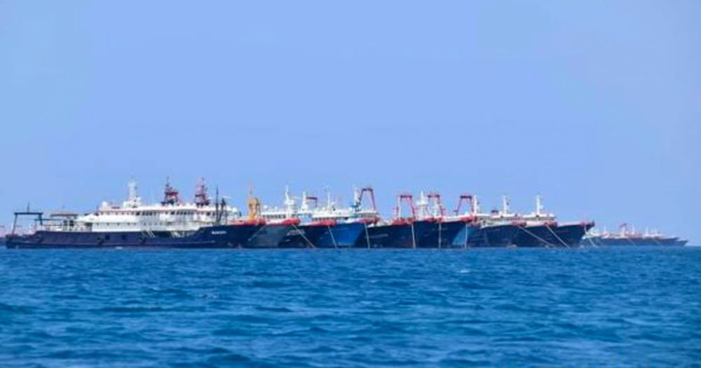 Chinese vessels near Whitsun Reef in the South China Sea on March 21.
