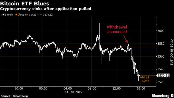 Cryptocurrency sinks after application pulled