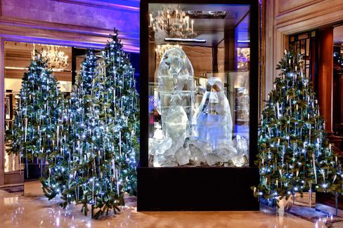 """The Four Seasons Paris's """"Arctic Fantasy"""" installation in the lobby of the hotel."""