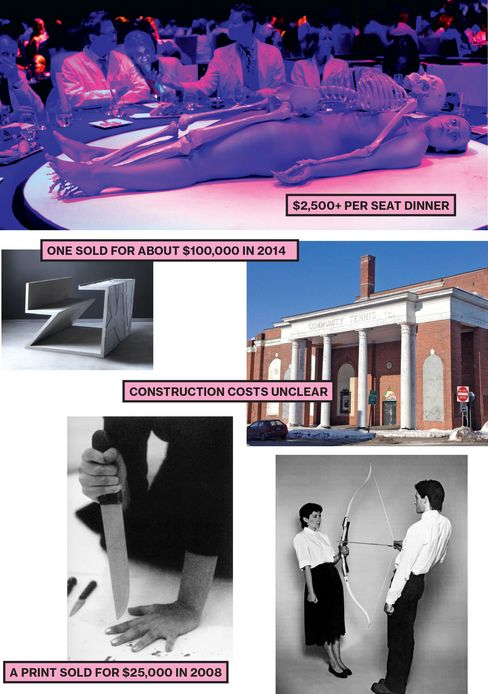 Clockwise, from top: An Artist's Life Manifesto, 2011. For this event, Abramovic created human table décor; Future site of the Marina Abramovic Institute in Hudson, N.Y. The former community tennis center, which Abramovic bought for about $1 million, may cost up to $31 million to renovate; Rest Energy, 1980. Abramovic and Ulay lean back to create tension in the bow. Meanwhile, small microphones attached to the artists' chests record their quickening heartbeats; Rhythm 10, 1973. Stabbing between her fingers in this audiotaped performance, Abramovic picked up a new knife every time she cut herself; Counting the Rice table, 2014. Daniel Libeskind designed this desk for free to help raise money for the Marina Abramovic Institute.