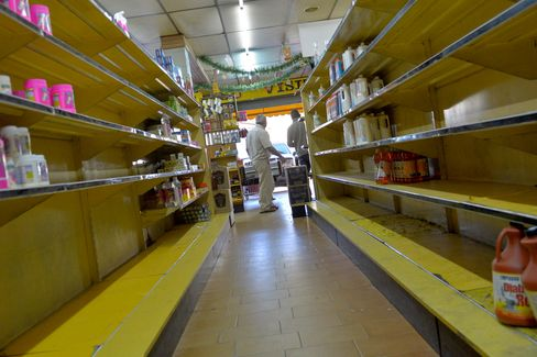 Empty shelves at a supermarket in Caracas, Venezuela.